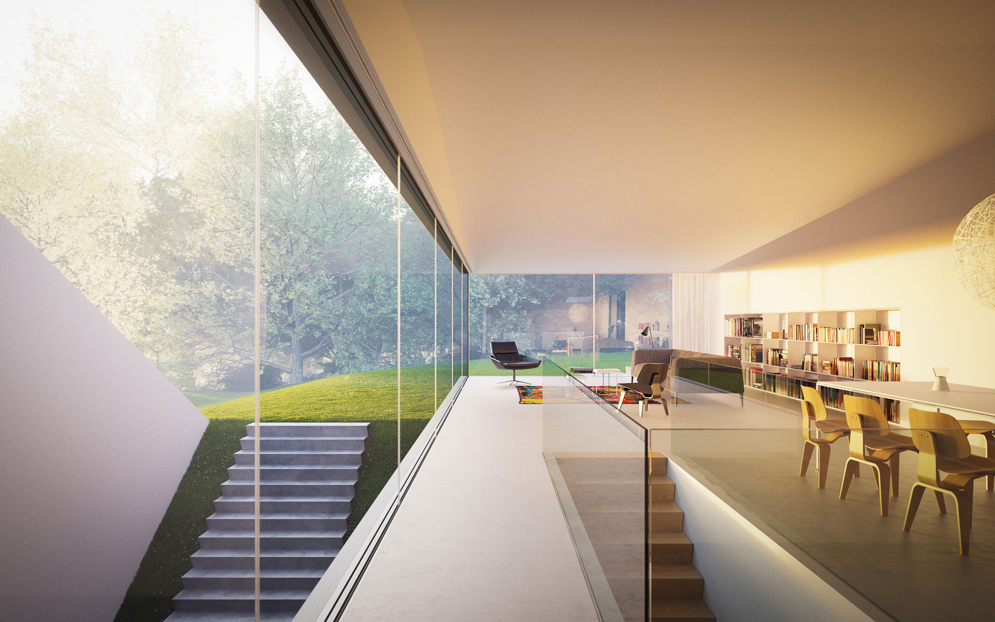 open-living-and-dining-room-modern-minimalist-garden-house-design-with-glass-window-and-white-interior-color-decorating-ideas